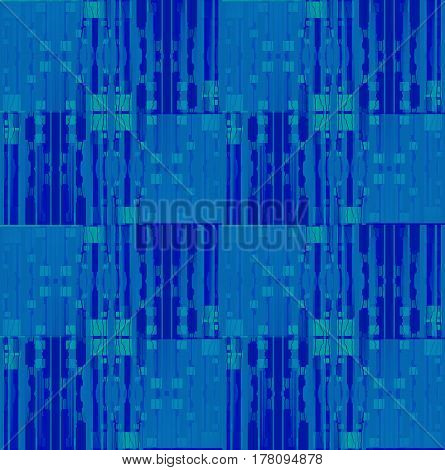 Abstract geometric seamless background. Regular squares and stripes pattern in blue gray and dark blue shades with turquoise elements shifted.