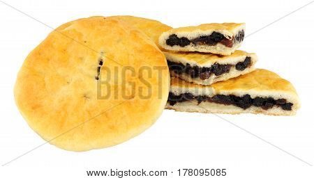 Traditional raisin filled Lancashire Chorley cakes isolated on  a white background