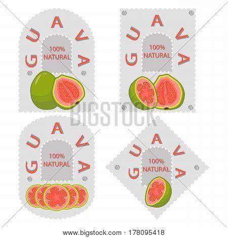 Vector illustration logo for whole ripe fruit red guava cut half sliced amrood background.