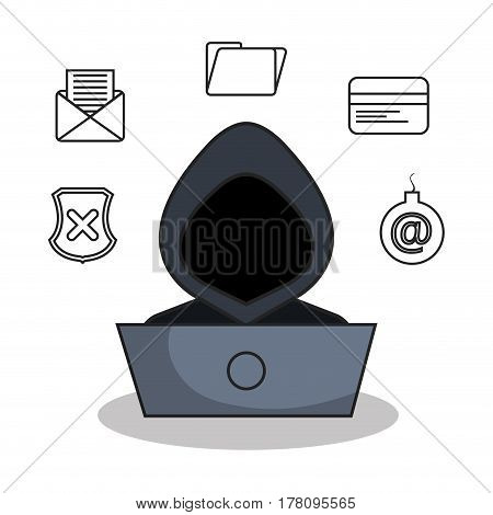 security system flat line icons vector illustration design