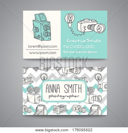 Sketchy bussines card for photographer. hand drawn doodle cartoon retro photo cameras, vector illustration