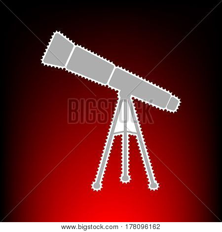 Telescope simple sign. Postage stamp or old photo style on red-black gradient background.