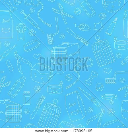 Seamless background on the topic of pet care pet shop simple contour icons on a blue background is drawn with a light marker