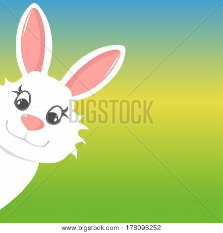 easter bunny peers out happy easter on colorful background
