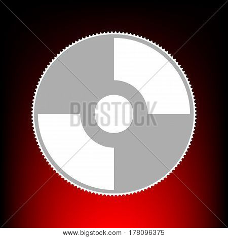 Vector CD or DVD sign. Postage stamp or old photo style on red-black gradient background.