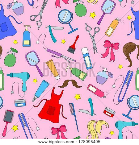 Seamless pattern on the theme of the Barber shop tools and accessories of Barber colored icons on a pink background