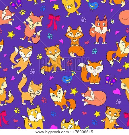 Seamless pattern with funny cartoon foxes on a purple background
