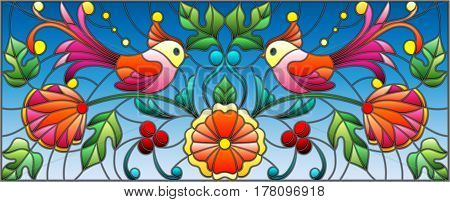 Illustration in stained glass style with a pair of abstract birds flowers and patterns on a blue background horizontal image