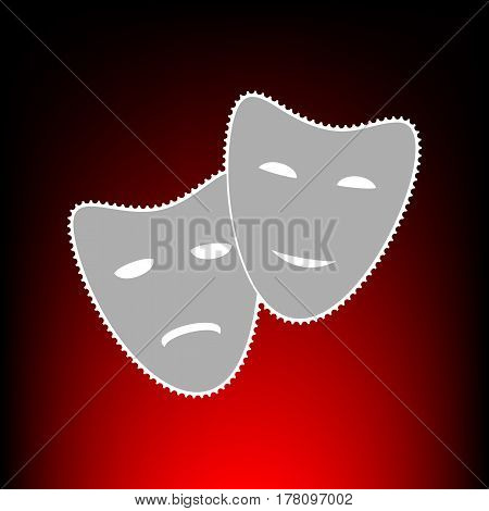 Theater icon with happy and sad masks. Postage stamp or old photo style on red-black gradient background.