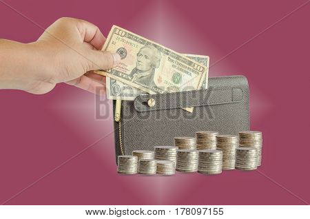 Handle brown man purse dollar Dark red background