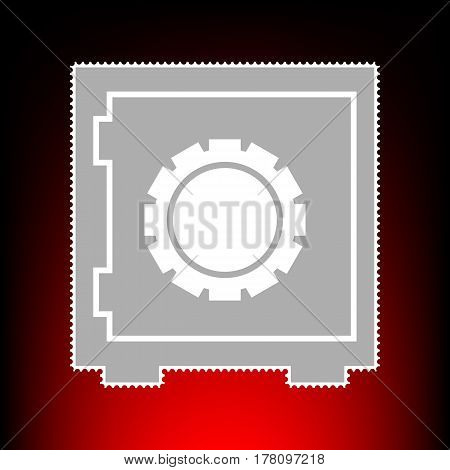 Safe sign illustration. Postage stamp or old photo style on red-black gradient background.