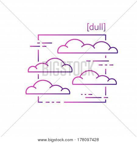 Line Vector Icons With Symbol Weather. Isolated Clouds Icon. Cloudy Weather Is Cool. Suitable For We
