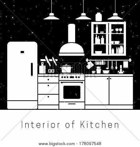 Kitchen interior with white silhouette of furniture.