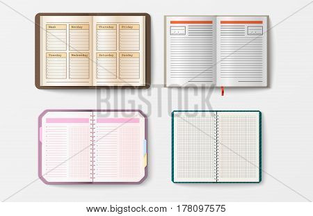 Set of open realistic notebooks with pages diary office sheet template booklet and blank paper education copybook organizer vector illustration. Memo hardcover textbook planner text pad.