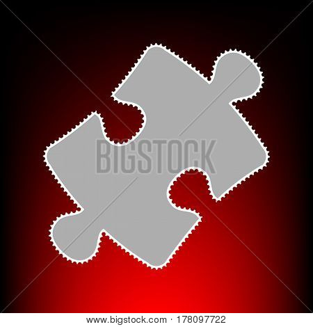 Puzzle piece sign. Postage stamp or old photo style on red-black gradient background.