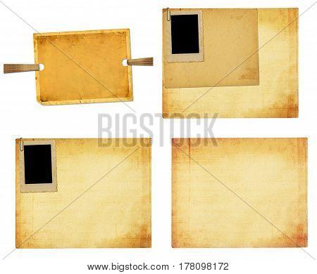 Set of old vintage paper with grunge frames for photos
