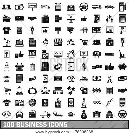 100 business icons set in simple style for any design vector illustration