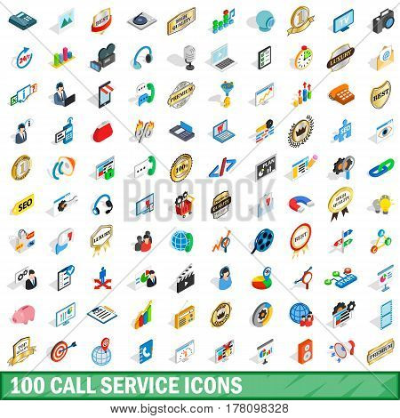 100 call service icons set in isometric 3d style for any design vector illustration