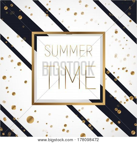 Golden frame with black stripes on white background with text summer time