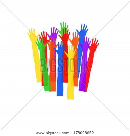 Colored hands stretching upwards.Vector illustration with a wide range of applications.