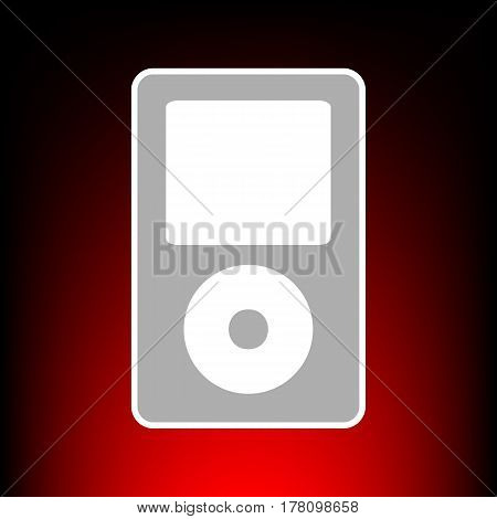 Portable music device. Postage stamp or old photo style on red-black gradient background.