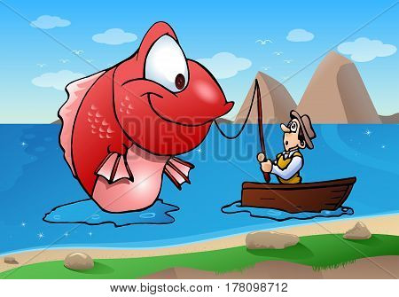 illustration of a fisherman on boat catch a fishing monster fish on river background