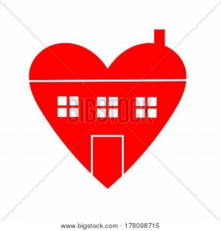House with Heart Icon Isolated on White Background. creative vector illustration for use in web design and print