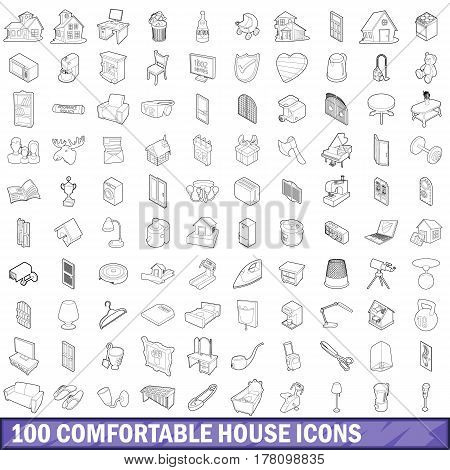 100 comfortable house icons set in outline style for any design vector illustration