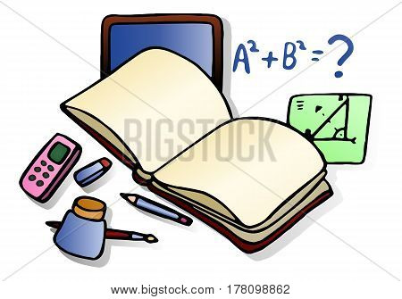 illustration of a math learning blank book on isolated white background
