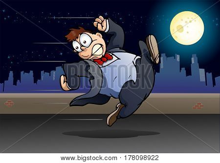 illustration of a business man running away from someone on city background
