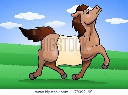 illustration of a healthy horse on nature background