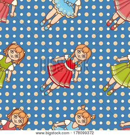 Little Ballerina. Cartoon style. Seamless pattern. Baby Doll. Colorful background.