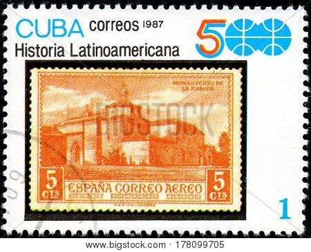 UKRAINE - CIRCA 2017: A stamp printed in CUBA shows Ancient Spanish fortress series History of Latin America circa 1987