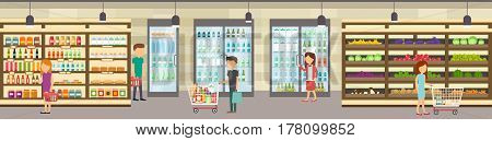 Supermarket store with goods. Big shopping center. Interior store inside. Scene inside shopping mall.