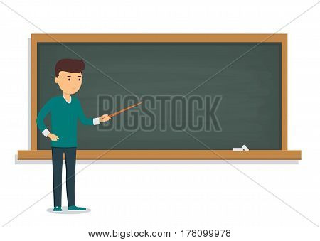 Young student is standing near the training board. Pupil of a school, college and university at the blackboard.