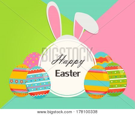 Happy easter banner with eggs, and rabbit ears. Greeting spring easter greeting card.