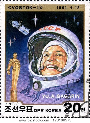 UKRAINE - CIRCA 2017: A stamp printed in DPR KOREA shows first cosmonaut Yu. A. Gagarin circa 1988