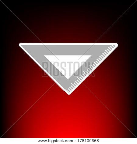 Ruler sign illustration. Postage stamp or old photo style on red-black gradient background.
