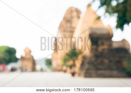 Blurred Po Ngar Cham Towers in Nha Trang. Great old brick temple complex PoNagar Vietnam