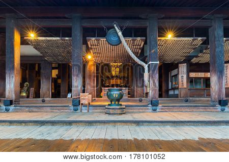 KYOTO, JAPAN - NOVEMBER 9, 2016: Kiyomizu-Dera Buddhist temple in Kyoto at dawn, Japan. Kiyomizu-dera built in 1633, is one of the most famous landmarks of Kyoto with UNESCO World Heritage