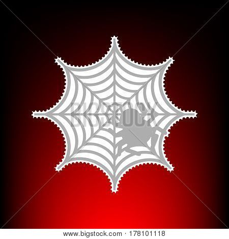 Spider on web illustration Postage stamp or old photo style on red-black gradient background.