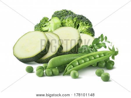 Green peas zucchini broccoli group isolated on white background as package design element