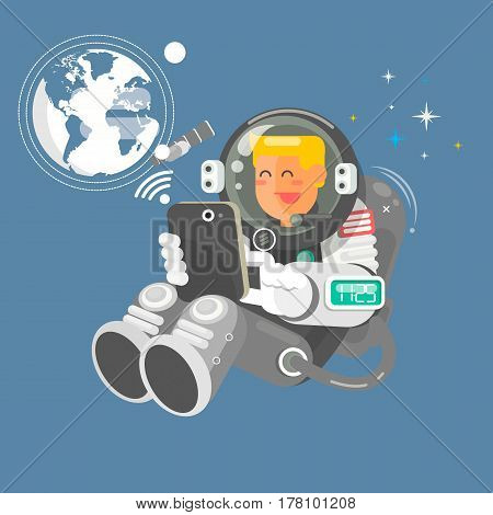 Astronaut in outer space using a laptop  vector illustration in flat style