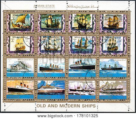 UKRAINE - CIRCA 2017: A set of sixteen postage stamps printed in the United Arab Emirates Ajman state showing image Old and modern ships circa 1972
