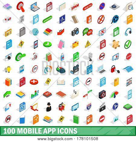 100 mobile app icons set in isometric 3d style for any design vector illustration