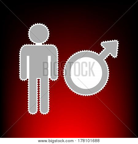 Male sign illustration. Postage stamp or old photo style on red-black gradient background.