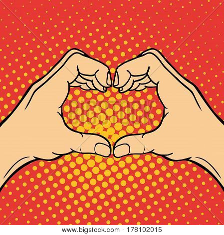 Hand showing heart deaf-mute gesture human arm hold communication and direction design fist touch pop art style colorful vector illusstration. Forefinger unity point showing.