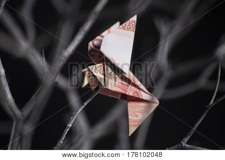 origami bird from banknotes sitting on a tree branch