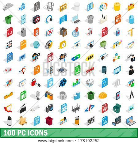 100 pc icons set in isometric 3d style for any design vector illustration