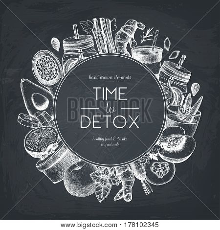 Vector background with hand drawn vegetarian products sketch. Detox food and drinks ingredients illustration. Diet template on chalkboard